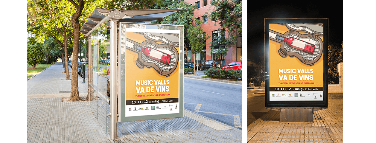 Diseño de carteles publicitarios para feria de vinos y música