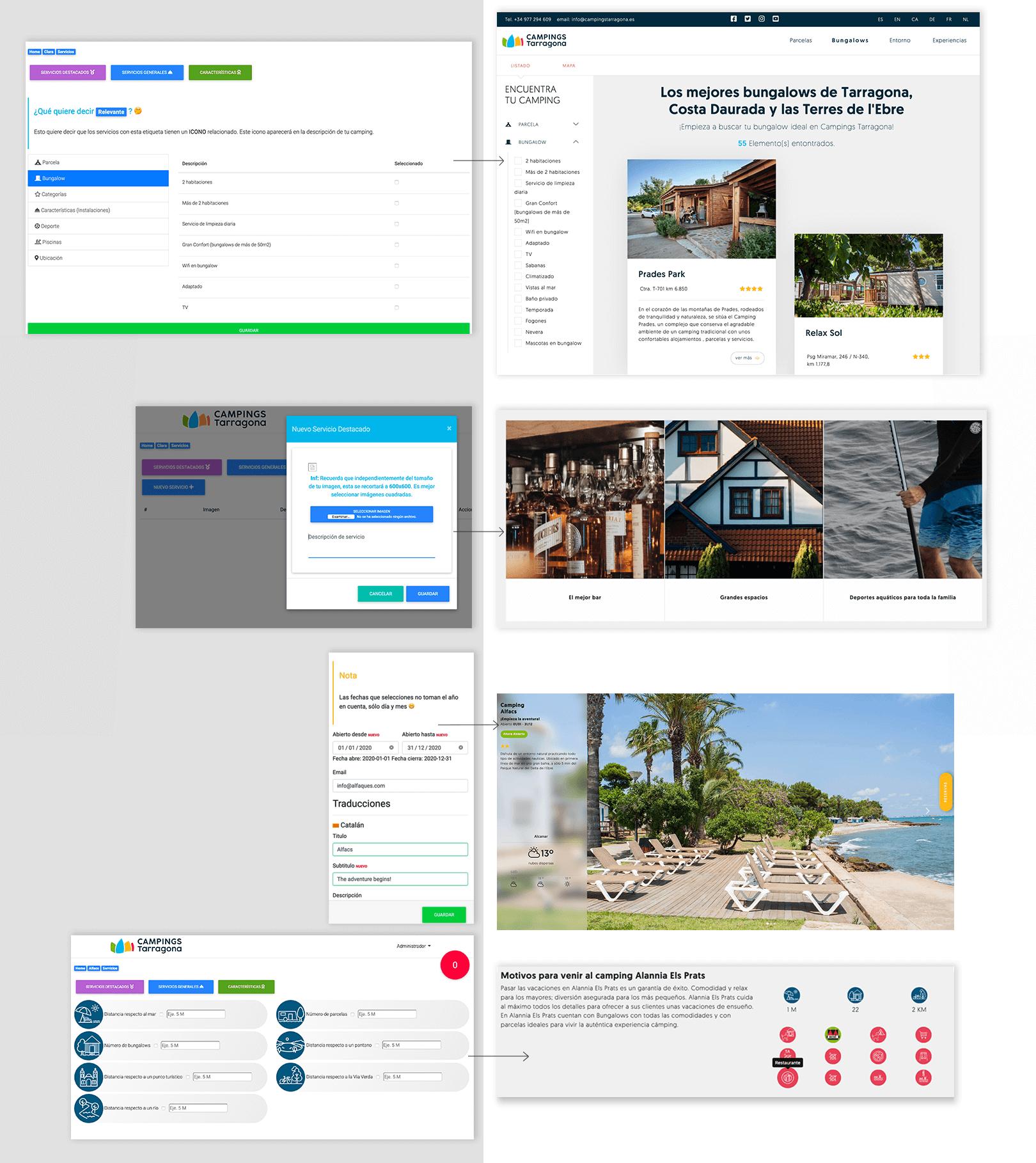 Diseño web y programación para Campings Tarragona