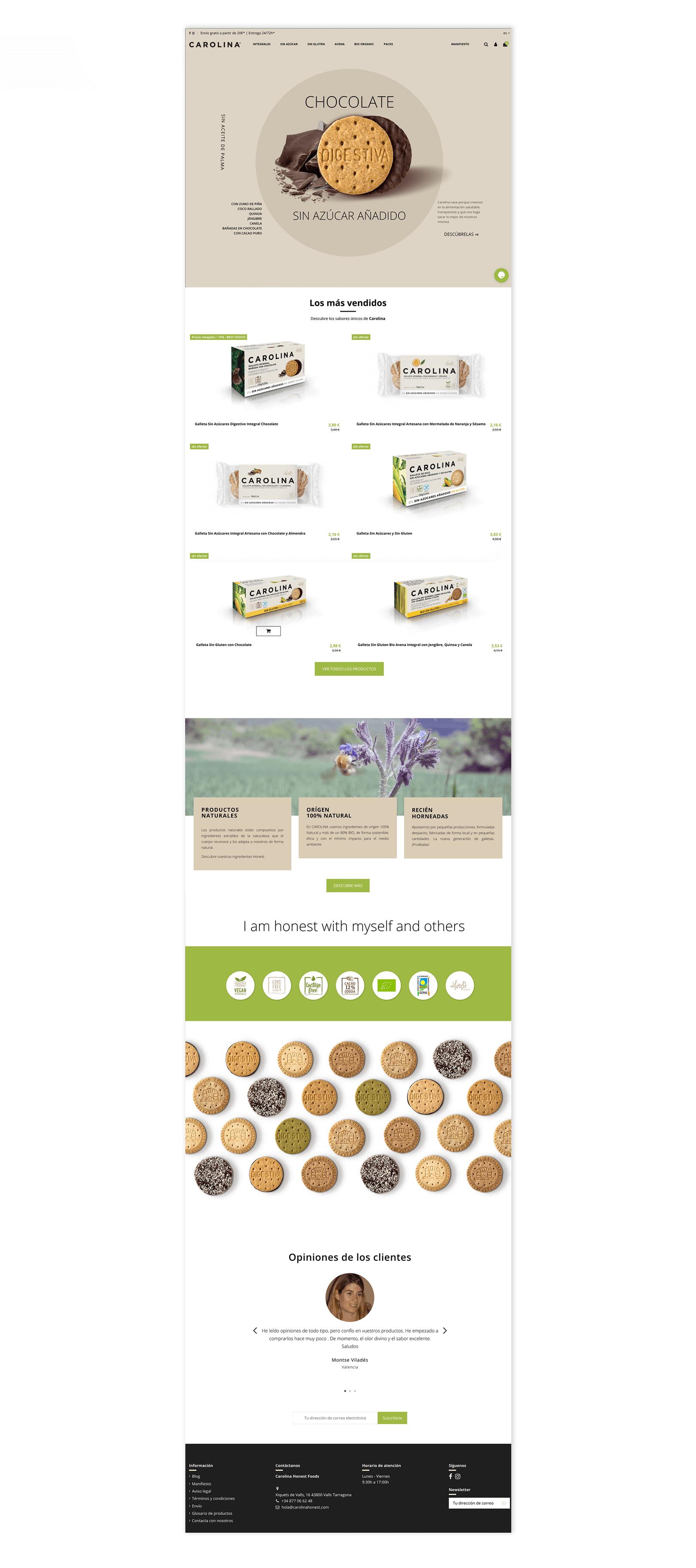 Diseño Tienda Online para Carolina Honest